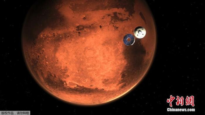 """当地时间2月15日,NASA发布美国""""毅力号""""火星车登陆火星的模拟图片。据报道,""""毅力号""""火星车将于2月18日在火星的杰泽罗撞击坑着陆。图为""""毅力号""""火星车与航天器脱离。"""