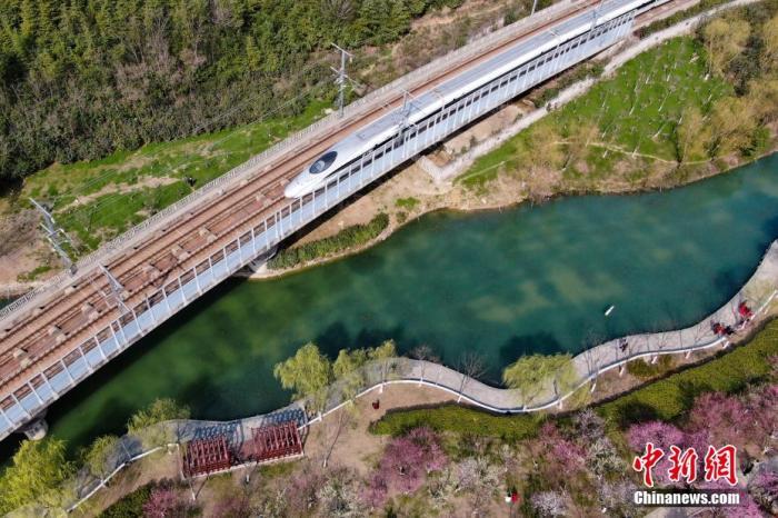 """图为一列""""和谐号""""高铁驶过春意盎然的合肥匡河公园。 张娅子 摄"""