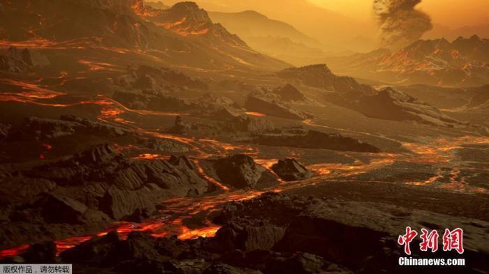 """当地时间3月5日,路透社发布了一张名为Gliese 486 b的行星表面模拟图。这颗行星被称为""""炙热的超级地球""""。它的表面温度约为430摄氏度,天文学家猜测,这颗行星有一个像金星一样炎热干燥的地貌,其间散布着发光的熔岩河。"""