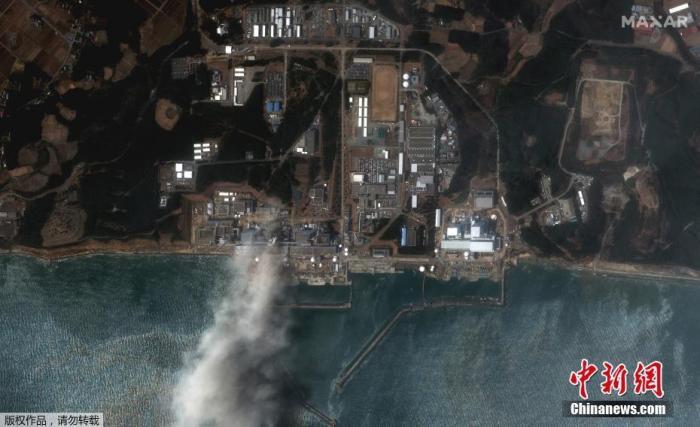 2011年3月14日,日本福岛第一核电站在地震后的受损情况。