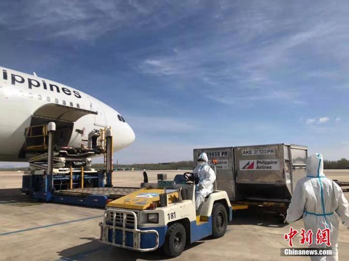 当地时间3月29日上午,菲律宾航空公司PR361航班,正在北京装载全菲民众高度关注的菲律宾政府向中国采购的首批科兴疫苗。当天下午4时,这批疫苗运抵马尼拉维拉莫尔军用基地。 中新社发 菲律宾航空公司供图