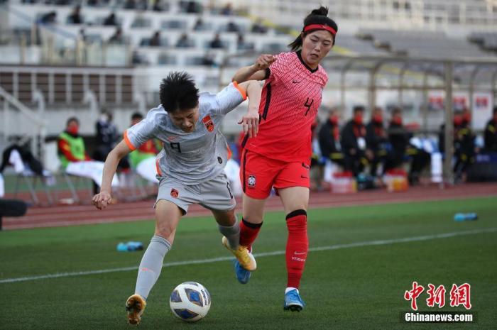 中国女足2:1客胜韩国女足。图片来源:视觉中国