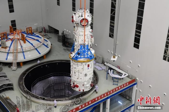 北京時間4月29日11時許,中國在文昌航天發射場用長征五號B遙二運載火箭發射空間站天和核心艙。圖為天和核心艙。 圖片來源:航天科技集團五院