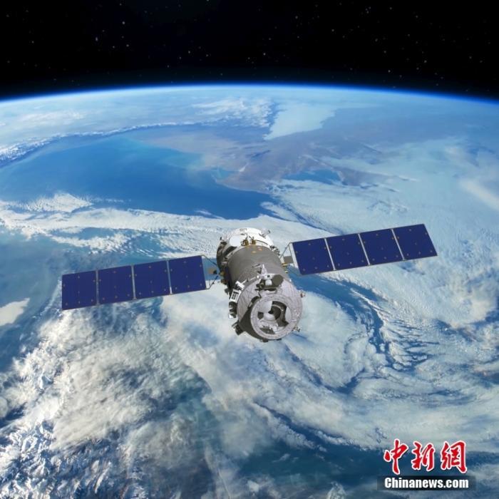 图为神舟十二号飞船飞行模拟图。 中国航天科技集团五院 供图