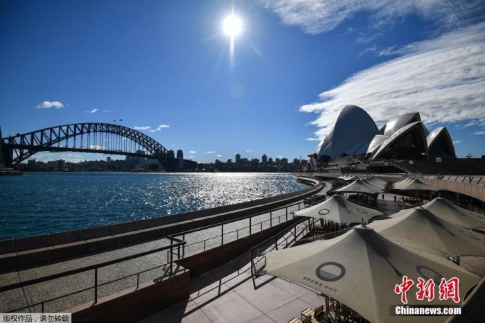 当地时间6月26日,澳大利亚悉尼,悉尼歌剧院附近空空荡荡。
