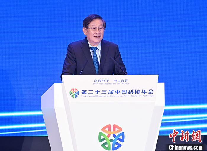 图为全国政协副主席、中国科协主席万钢致开幕辞 。 中新社记者 侯宇 摄