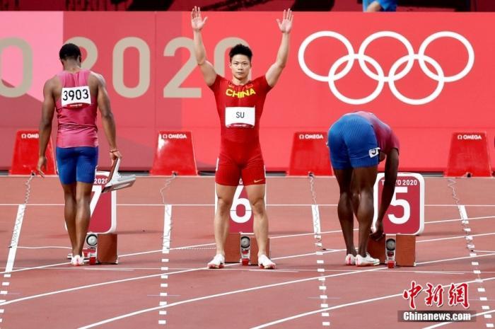 北京时间8月1日晚,在东京奥运会男子百米决赛中,中国选手苏炳添以9.98秒的成绩获得第六名,作为首位闯进奥运男子百米决赛的中国人,他再次创造了历史。<a target='_blank' href='http://www.chinanews.com/'>中新社</a>记者 富田 摄