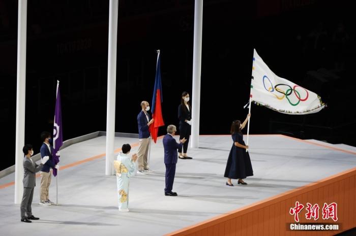 8月8日,日本东京新国立竞技场,东京奥运会闭幕式举行。图为闭幕式现场。<a target='_blank' href='http://www.chinanews.com/'>中新社</a>记者 韩海丹 摄