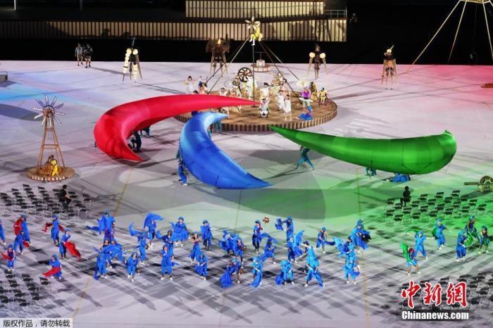 8月24日,日本东京,2020东京残奥会开幕式在东京新国立竞技场举行。图为开幕式现场。