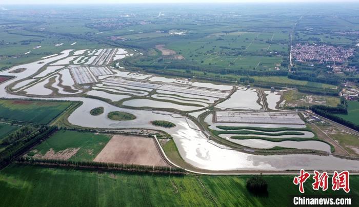 图为8月26日,航拍孝义河河口湿地。(无人机照片) 中新社记者 韩冰 摄