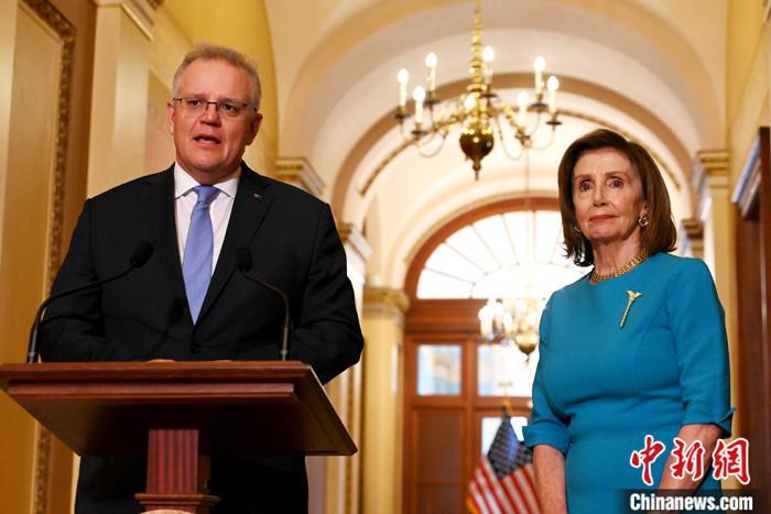 当地时间9月22日,美国国会众议长佩洛西在华盛顿会见澳大利亚总理莫里森。 <a target='_blank' href='http://www.chinanews.com/'>中新社</a>记者 陈孟统 摄
