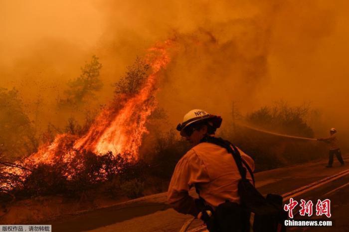 资料图:美国加州红杉国家公园山火持续,浓烟遮天蔽日。图为消防员在路边灭火。