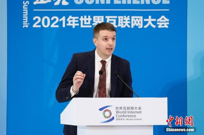 图为英国网红司徒建国出席论坛。 中新社记者 韩海丹 摄