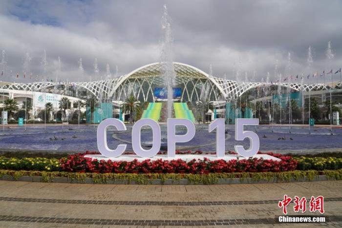 10月12日,云南昆明,联合国《生物多样性公约》第十五次缔约方大会会场外,喷泉开启迎接与会嘉宾。 <a target='_blank' href='http://www.chinanews.com/'>中新社</a>记者 崔楠 摄