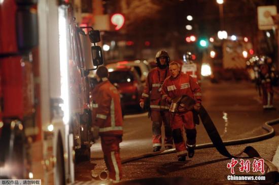 当地时光2月5日,法国一个富有街区建造产生 火警。