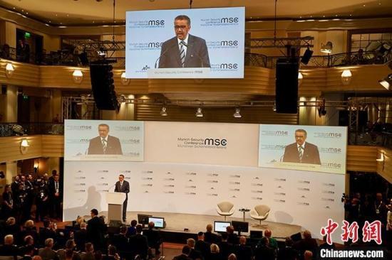 当地时间2月15日,世界卫生组织(WHO)总干事谭德塞出席第56届慕尼黑安全会议并致辞。 <a target='_blank' href='http://www.chinanews.com/'>中新社</a>记者 彭大伟 摄