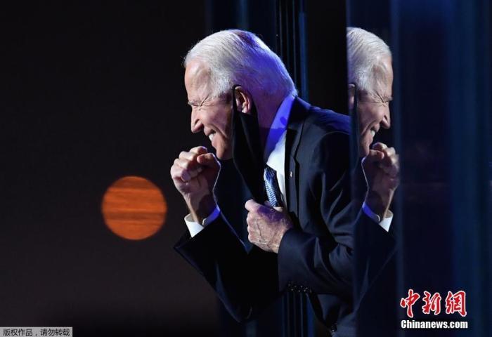 11月7日,乔·拜登在特拉华州威尔明顿发表演讲。美国民主党人乔·拜登击败唐纳德·特朗普赢得美国大选。Angela Weiss 摄