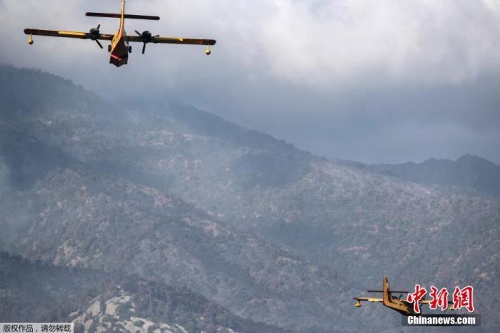 5月21日,消防飞机在希腊阿莱波科里村附近飞行。