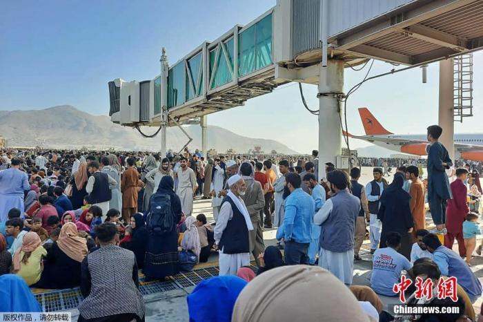 当地时间8月16日,等待撤离的人群聚集在阿富汗机场。